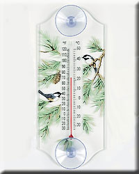 Chickadee Pine Window Thermometer