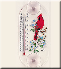 Cardinal Dogwood Window Thermometer