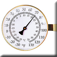 Vermont Lg Dial Thermometer Brass