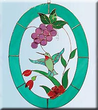 Grapes and Hummingbird 3D Window
